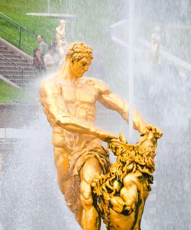 golden statue of Samson in lower park of Peterhof. Saint Petersburg. Russia photo