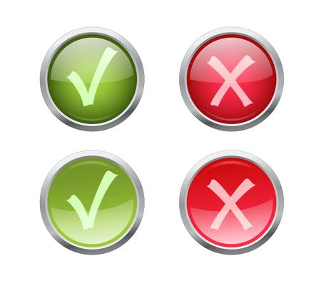 Set of vector accept and decline buttons with pushed variants Stock Vector - 9375159
