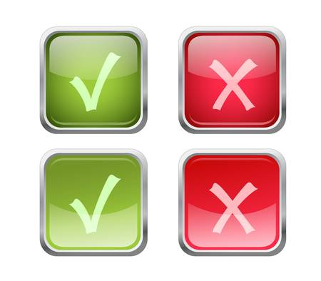 Set of vector accept and decline buttons with pushed variants Illustration