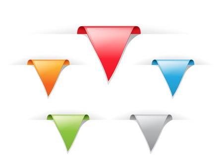 pesta�as: conjunto de pegatinas de etiqueta brillante multicolores