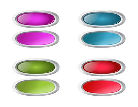 colored oval buttons with pushed variants Stock Vector - 9433157