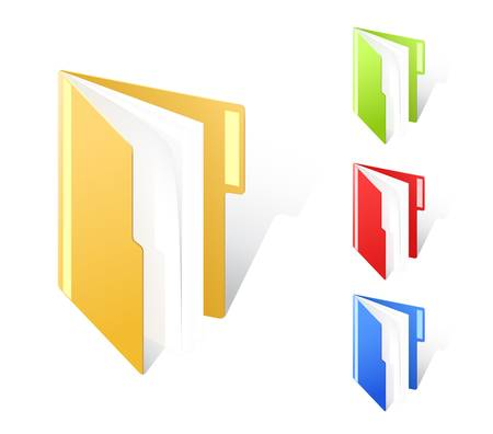 set of multicolored full folders with textfield Vector