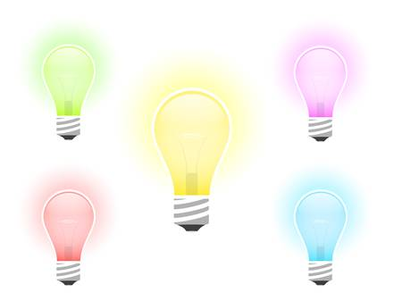 illustration of multicolored light bulb with beams Stock Vector - 9462792