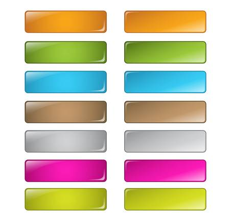 rectangles: vector multicolored glossy rounded square buttons