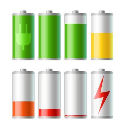 levels: Set van vector batterij iconen met niveau van de lading Stock Illustratie