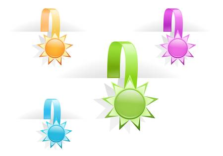 vector set of multicolored glossy tag labels Stock Vector - 9523970