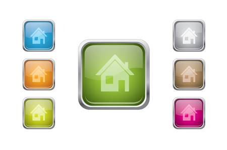 rounded squares: vector multicolored glossy rounded square buttons with home sign