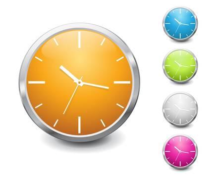 clock icon: vector multicolored shiny clock icon design Illustration