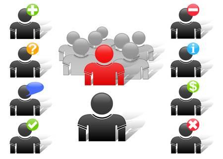 conjunto de iconos de miembros de vector Web boy Foto de archivo - 9578968