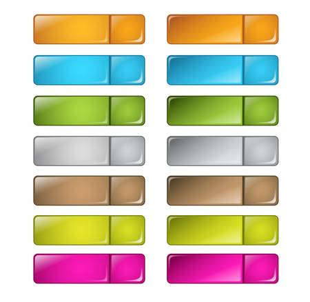 vector multicolored glossy rounded square buttons Stock Vector - 9578972
