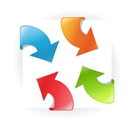 office products: Vector cintas multicolores con flecha