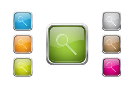 multicolored glossy rounded square buttons with zoom sign icons. EPS 10. Stock Vector - 9716844