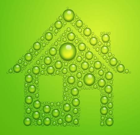 casa de las gotas de agua sobre fondo verde Vectores