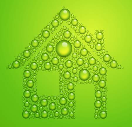 ecology house: house of the water drops on green background Illustration