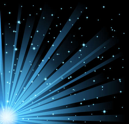 abstract illustration of blue light beams and stars on black sky background. illustration