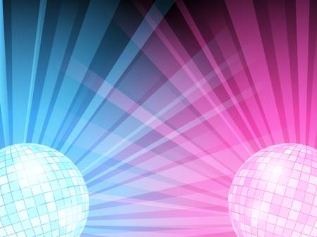 illustration of blue and pink disco balls with light beams.  Illustration