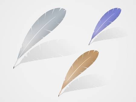 a literary sketch:  multicolored feathers with shadow icon design.