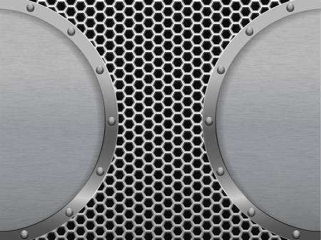 Illustration of dark hexagon metal grill Vector