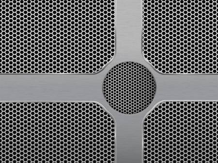 speaker grill: Vector Illustration of dark hexagon metal grill texture Illustration