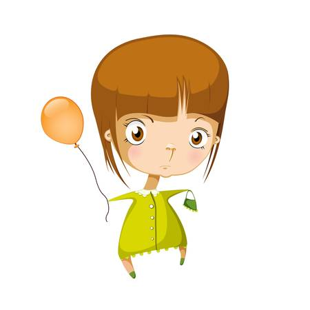 illustration of isolated girl in green dress Vector