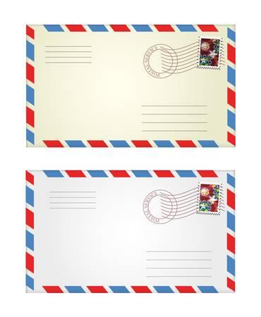 telegrama: ilustración vectorial de los sobres de color gris y amarillo