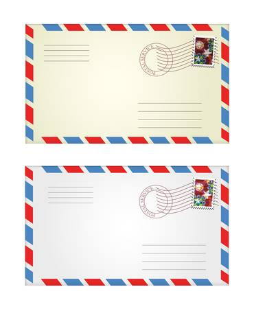 air mail: vector illustration of gray and yellow envelopes