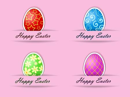 Vector illustration of easter cards with text Vector