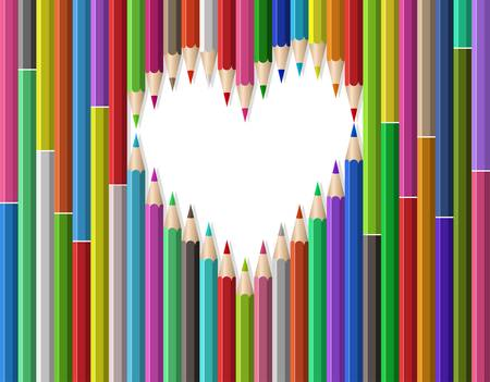 heart shape out of pencils Vector