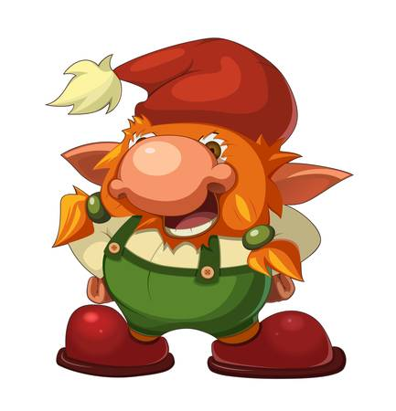 mythological character: old cheerful gnome Illustration