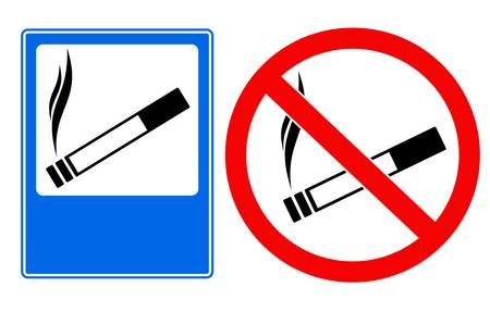 Vector illustration of smoking area and no smoking sings Vector