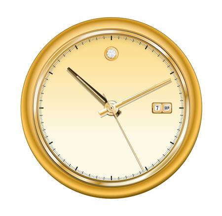 Vector illustration of gold shiny clock Vector