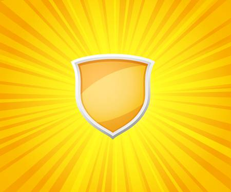 protect icon: vector illustration of shield on sunrays background