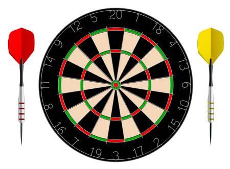 Vector dartboard isolated on white background Illustration