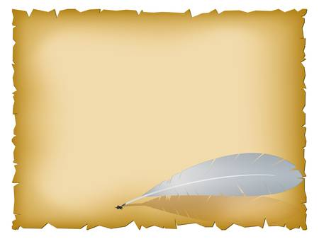 burnt edges: Vector illustration of old paper sheet with feather Illustration