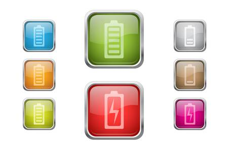 low battery: Set of vector multicolored glossy rounded square buttons with battery sign icons