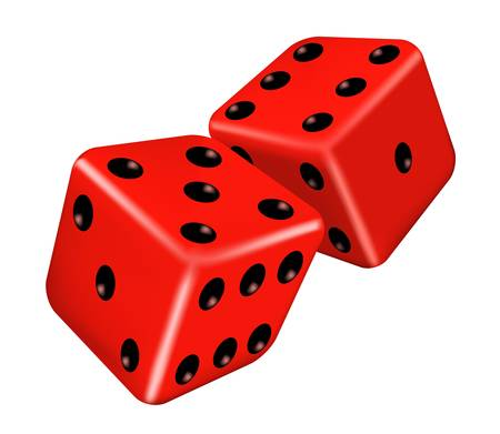 tossing: illustration of two red dice Illustration