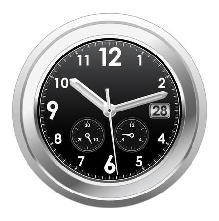 cronógrafo: Ilustración vectorial de reloj de plata Vectores