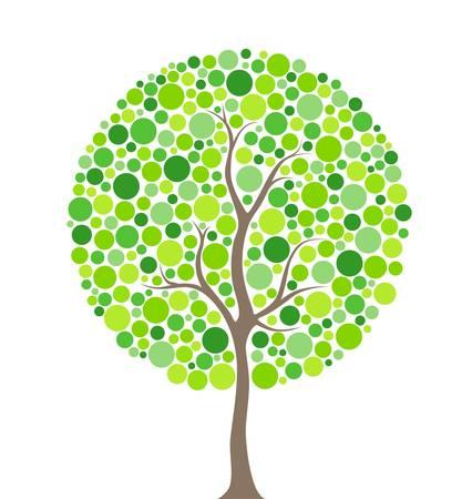 vida natural: Ilustración vectorial de árbol de círculos multicolores Vectores