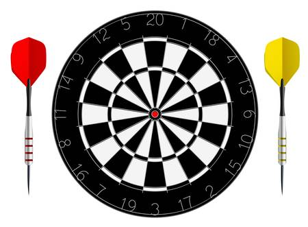 dartboard with two darts isolated on white background Vector