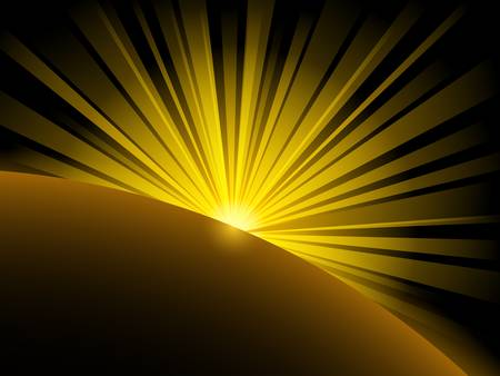 abstract illustration of yellow light beams over planet with place for text Stock Vector - 13572278