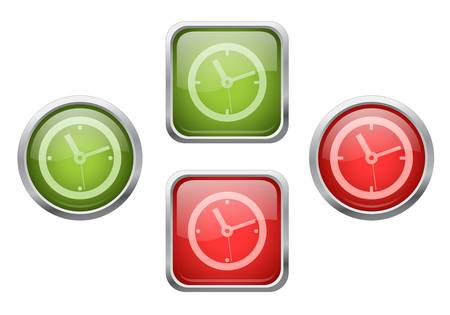 Set of glossy buttons with clock sign icons Stock Vector - 13572295