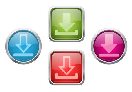 Set of vector glossy buttons with download sign icons Stock Vector - 13619035