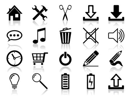 download music: Icon set. Vector illustration of different web icons