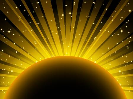 Vector abstract illustration of yellow light beams over planet with place for text