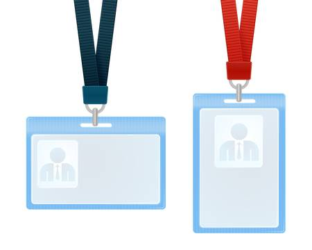 identify: illustration of identification cards with place for photo and text Illustration