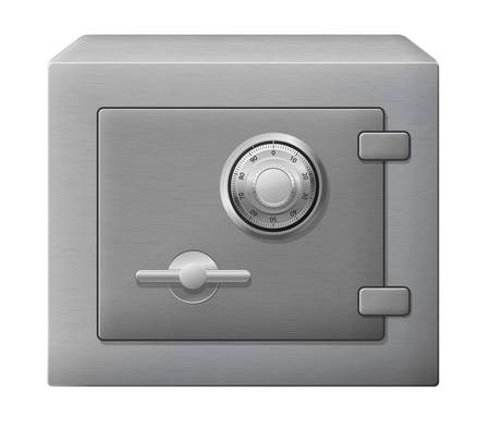 safe lock: illustration of isolated steel safe box