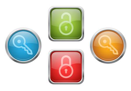 Set of glossy buttons with lock and key sign icons Vector