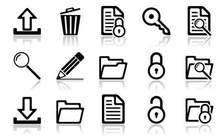 arquivos: Navigation icon set. Vector illustration of different interface web icons Ilustra��o