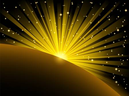 shining star: abstract illustration of yellow light beams and stars over planet