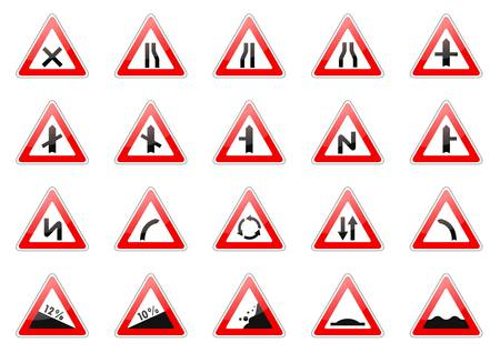 set going: illustration of glossy triangular road signs